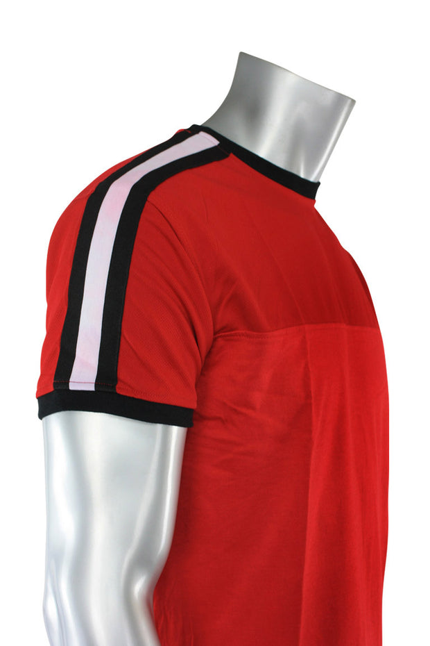 Striped Taping Tee Red (T823)