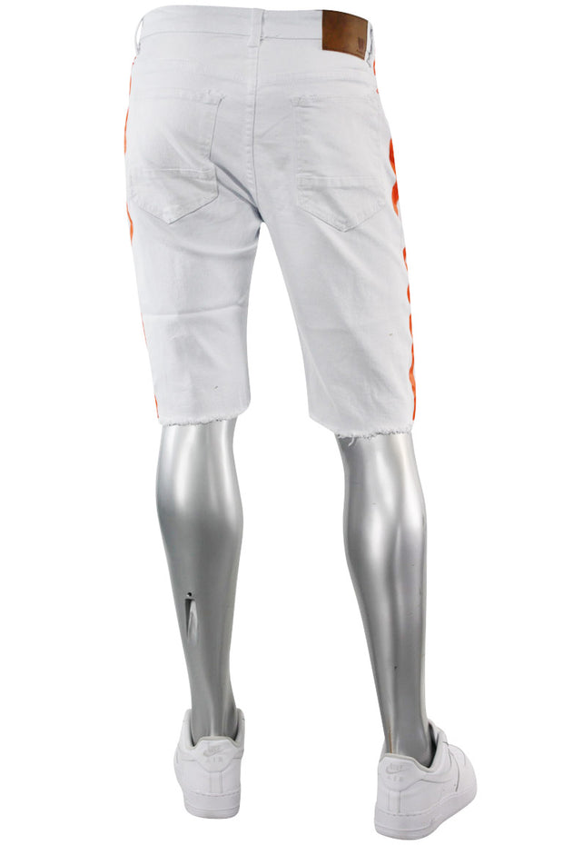 Paint Splatter Denim Track Shorts White - Orange (M7166T) - Zamage