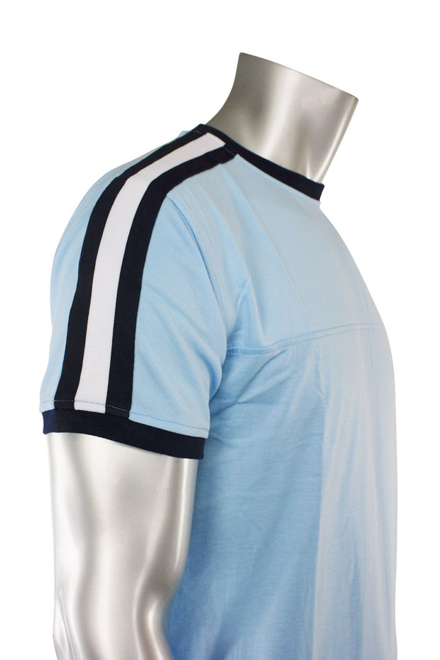 Striped Taping Tee Pale Blue (T823)