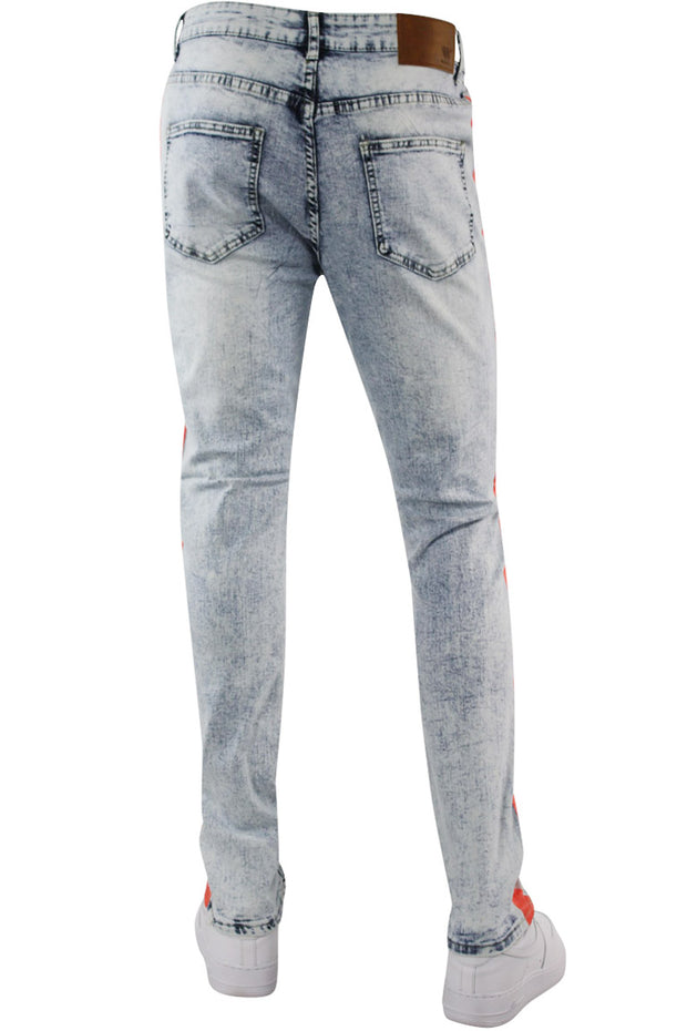 Bleach Splatter Skinny Fit Track Denim Snow - Orange (M4708R1D) - Zamage
