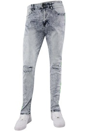 Bleach Splatter Skinny Fit Track Denim Snow - Green (M4708R1D) - Zamage
