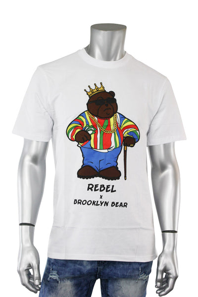 Embroidered Biggie Bear Tee White (192-106) - Zamage