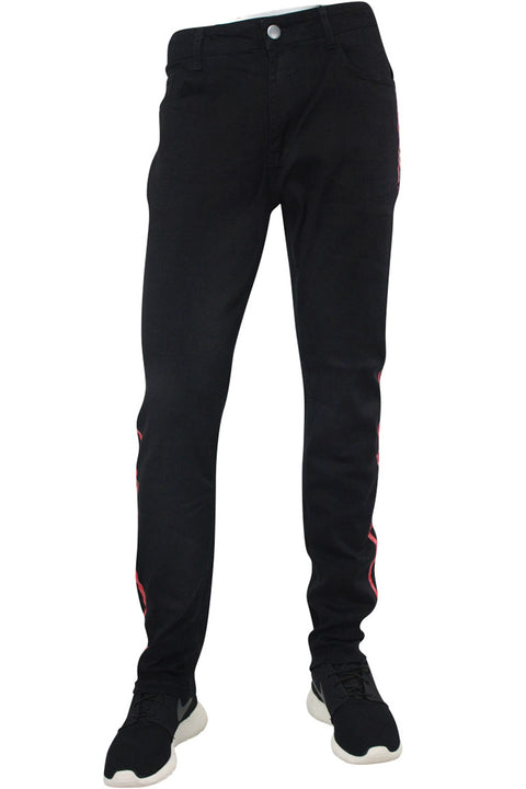 Skinny Fit Denim Track Pants Black - Red (M4384DC) - Zamage