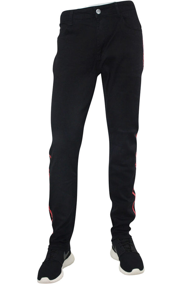 Skinny Fit Denim Track Pants Black - Red (M4384DC)