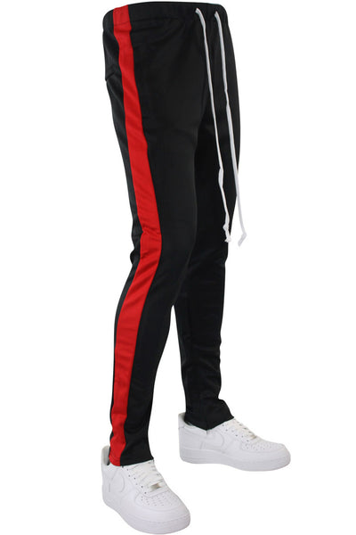 Side Stripe Zip Pocket Tricot Tracks Black - Red (MK7753)