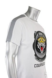 Embroidered Tiger Tee White (TP952) - Zamage