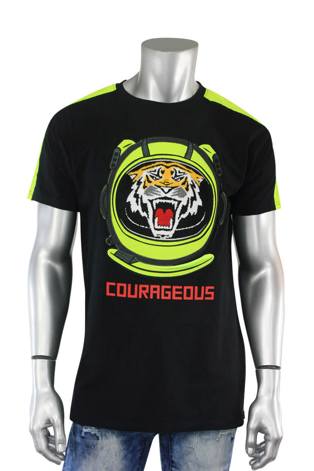 Embroidered Tiger Tee Black (TP952) - Zamage
