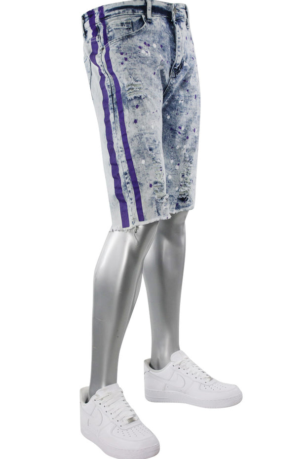 Paint Splatter Denim Track Shorts Snow - Purple (M7166DA) - Zamage