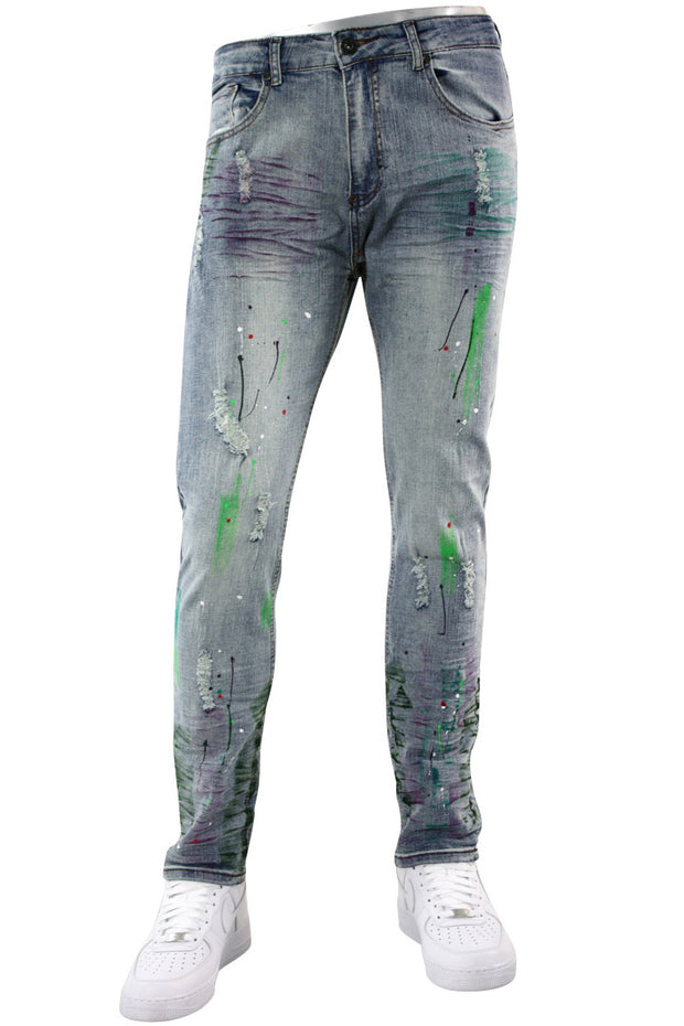 Faded Paint Splatter Denim Light Blue (M4884D) - Zamage