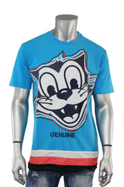 Embroidered Felix Cat Tee Teal - Navy (FELIX 22S) - Zamage