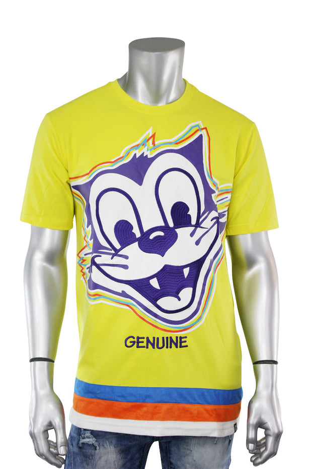 Embroidered Felix Cat Tee Yellow - Purple (FELIX 22S) - Zamage