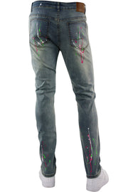 Destroyed Paint Splatter Denim Light Vintage (M4848D) - Zamage