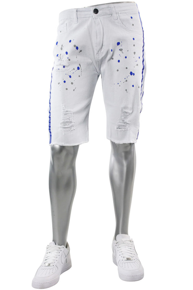 Paint Splatter Denim Track Shorts White - Blue (M7166T) - Zamage