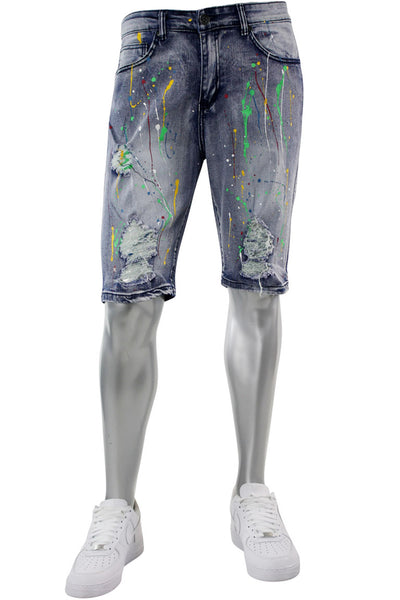 Paint Splattered Denim Shorts Bleach (M7163D) - Zamage