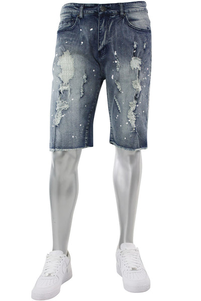 Destroyed & Painted Denim Shorts Vintage Bleach (M7193D) - Zamage