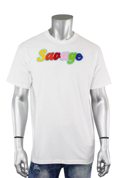 Savage Chenille Tee White (P19-1001) - Zamage