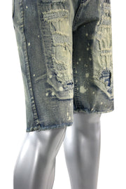 Ripped & Repaired Denim Shorts Antique Wash (M7192D) - Zamage