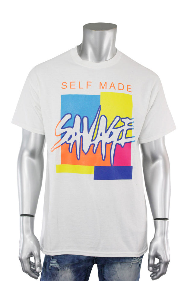 Self Made Savage Tee White (9157) - Zamage