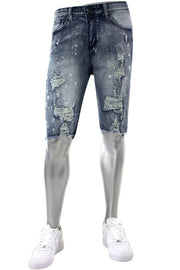 Side Stripe Destroyed Denim Shorts Bleach Splatter (M7195D) - Zamage