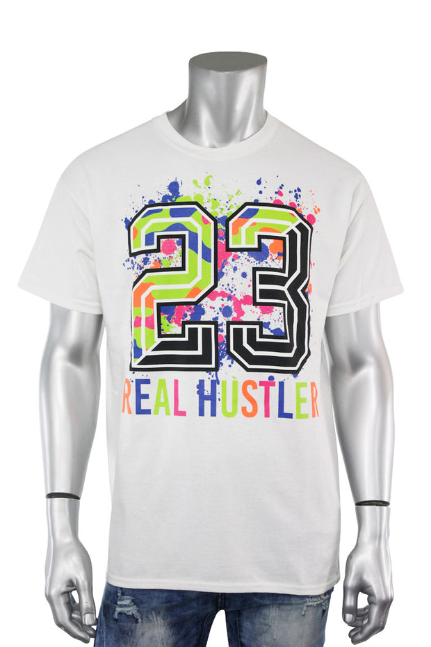 23 Real Hustler Tee White (9062) - Zamage