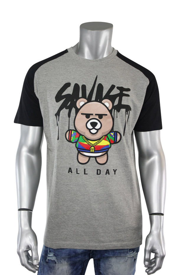 All Day Bear Tee Heather Grey - Black (9355R) - Zamage