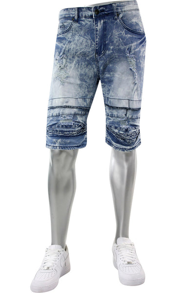 Moto Ribbed Denim Shorts Light Blue (M7197D) - Zamage