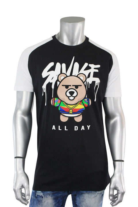 All Day Bear Tee Black - White (9355R) - Zamage