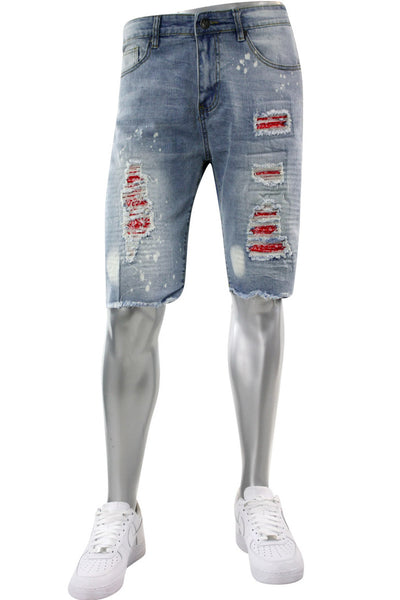 Destroyed Backin Denim Shorts Stone Wash - Red (M7189D) - Zamage
