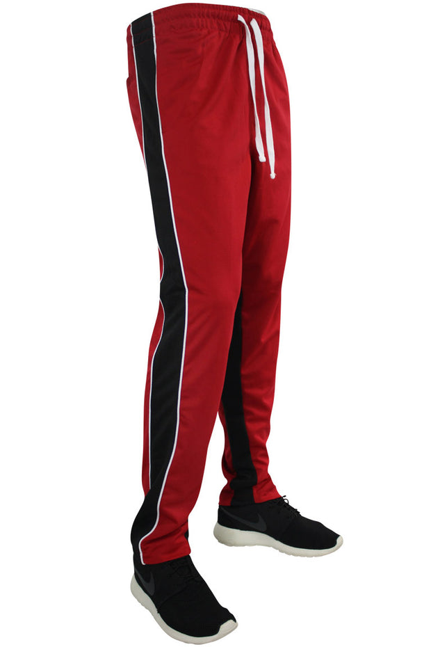 Color Block Dual Stripe Track Pants Red - Black (1240) - Zamage