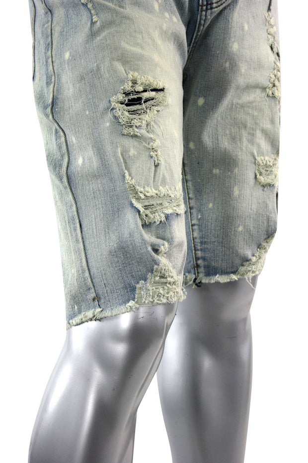 Ripped & Repaird Denim Shorts Antique Bleach (M7165D) - Zamage