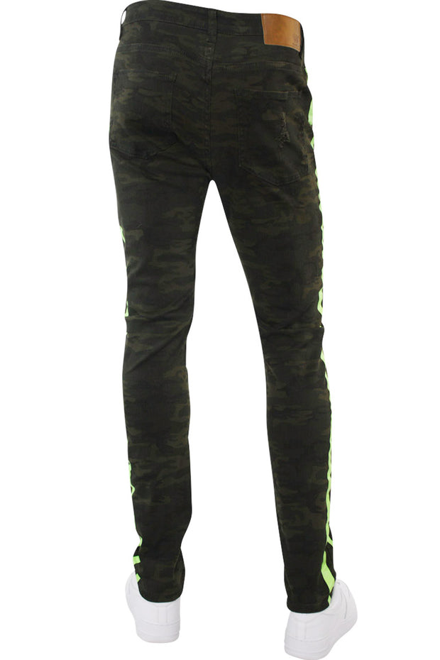Side Stripe Track Denim Camo - Neon Green (M4678T 22S) - Zamage