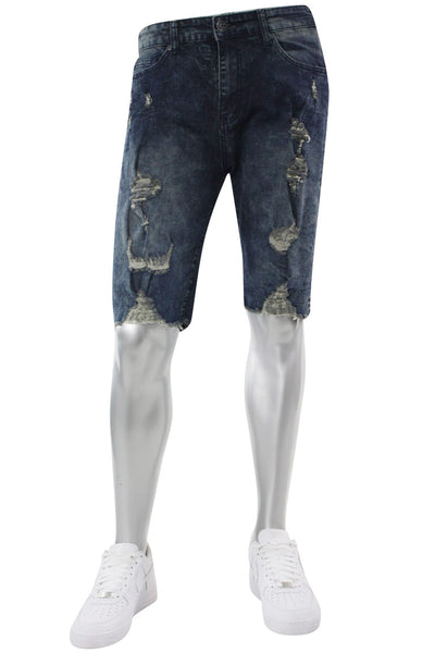 Faded Wash Destroyed Denim Shorts Rinse Bleach (M7165D) - Zamage