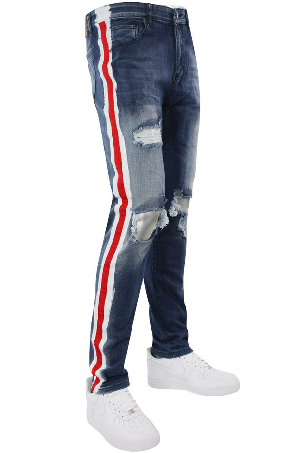 Side Paint Stripe Athletic Track Denim Medium Blue (M4700D 22S)