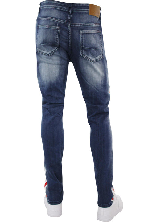 Side Paint Stripe Athletic Track Denim Medium Blue (M4700D 22S) - Zamage