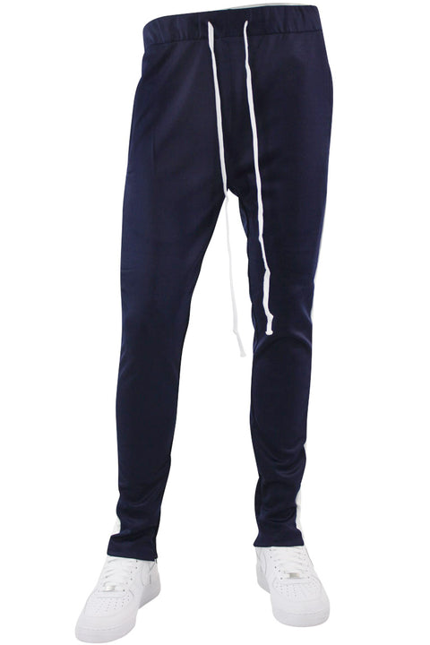 Side Stripe Zip Pocket Tricot Tracks Navy - White (MK7753)