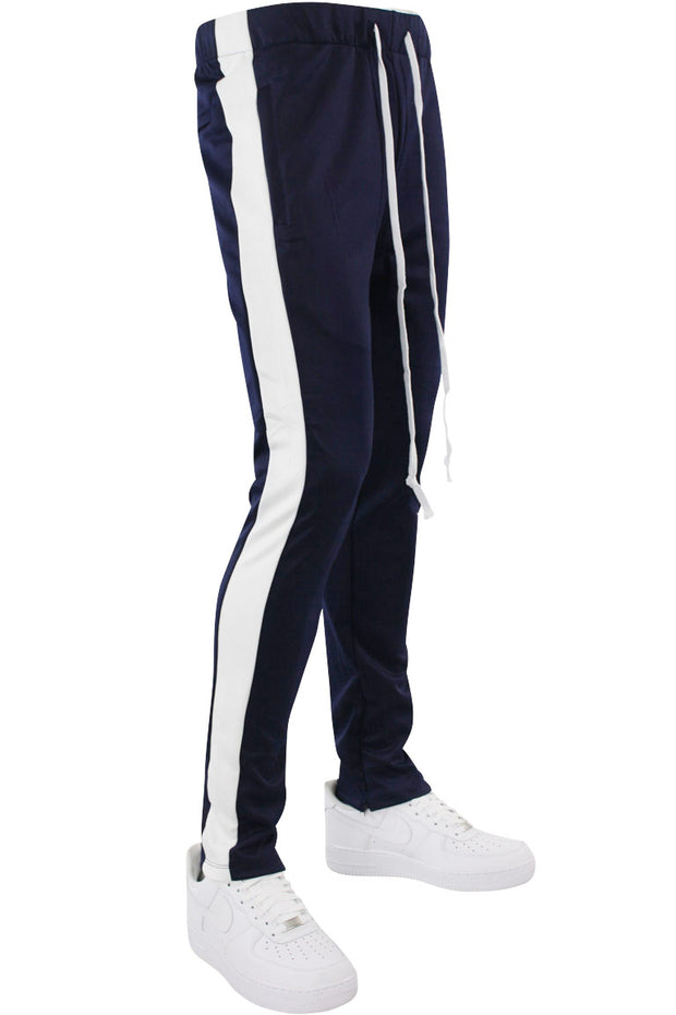 Side Stripe Zip Pocket Tricot Tracks Navy - White (MK7753) - Zamage