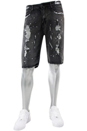 Destroyed & Painted Denim Shorts Grey (M7193D) - Zamage