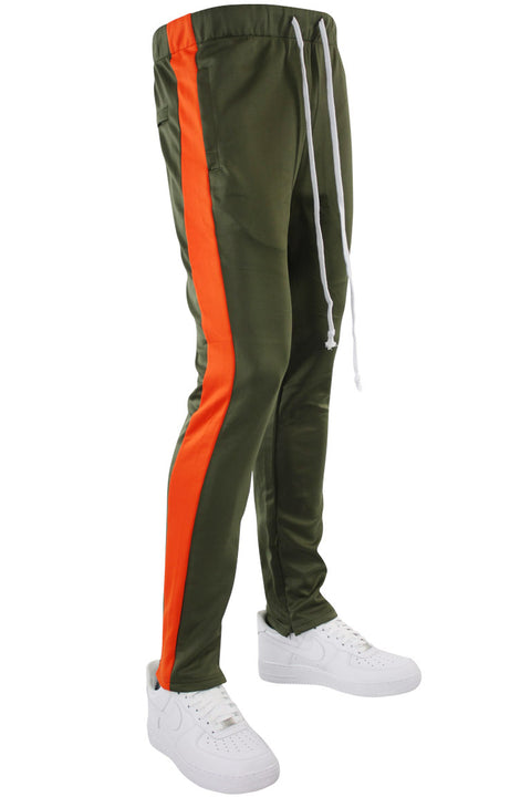 Side Stripe Zip Pocket Tricot Tracks Olive - Orange (MK7753)