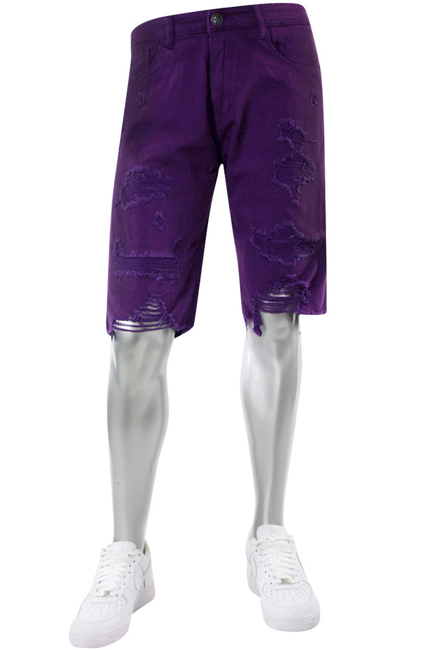 Destroyed Denim Shorts Purple (M7165T) - Zamage