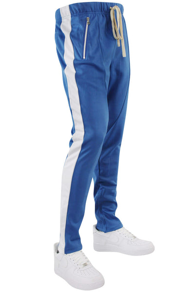Premium Side Stripe Zip Pocket Track Pants Royal - White (ZCM4418Z) - Zamage