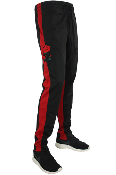 Embroidered Rose Track Pants Black (1242) - Zamage