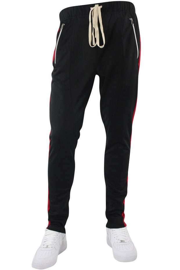 Premium Side Stripe Zip Pocket Track Pants Black - Red (ZCM4418Z) - Zamage