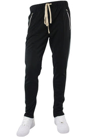 Premium Side Stripe Zip Pocket Track Pants Black - Dark Grey (ZCM4418Z) - Zamage