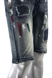 Backin Rhinestone Denim Shorts Blue Wash (M7196D) - Zamage