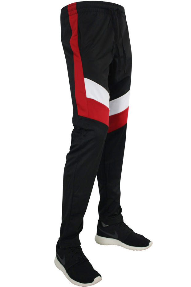 Color Block Track Pants Black - Red - White (1241) - Zamage