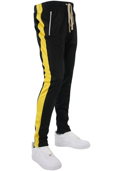 Premium Side Stripe Zip Pocket Track Pants Black - Yellow (ZCM4418Z) - Zamage