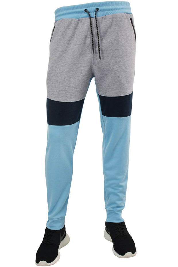 Color Block Tech Fleece Pants Light Blue (18391) - Zamage