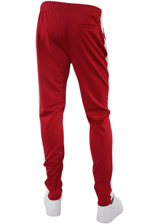 Premium Side Stripe Zip Pocket Track Pants Red - White (ZCM4418Z) - Zamage