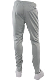 Premium Side Stripe Zip Pocket Track Pants Grey - White (ZCM4418Z)