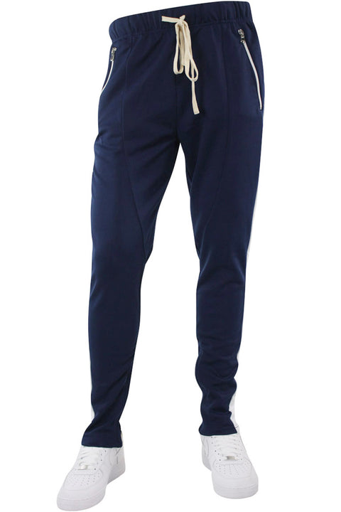 Premium Side Stripe Zip Pocket Track Pants Navy - White (ZCM4418Z)